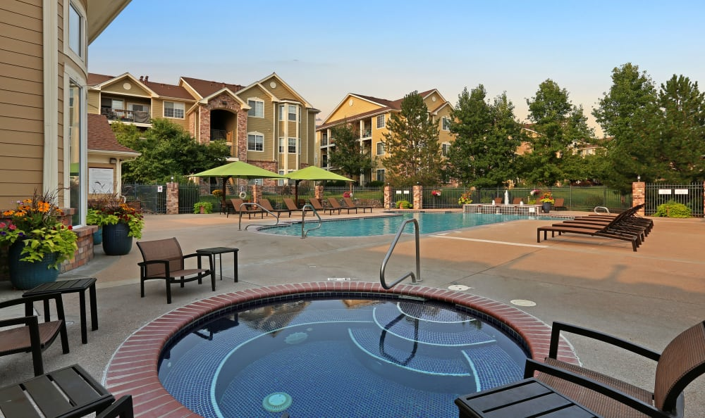Hot tub at apartments in Englewood, Colorado