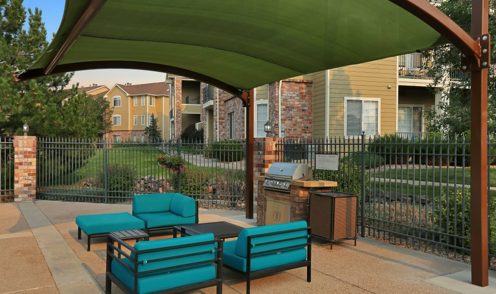 Outdoor lounge at apartments in Englewood, Colorado