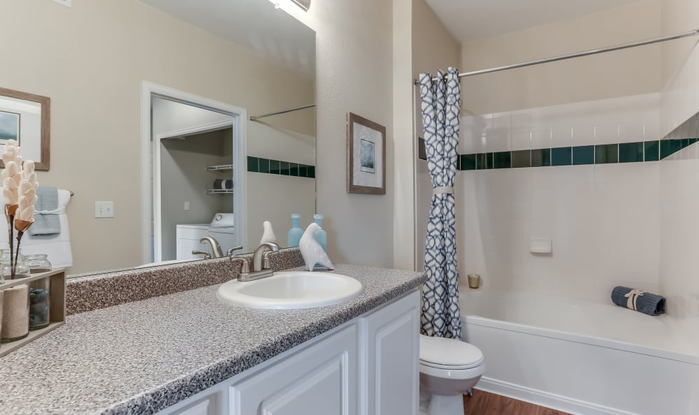 Spacious bathroom at Dove Valley Apartments in Englewood, Colorado