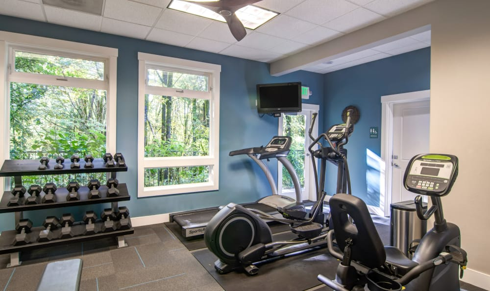 Fitness center at Sofi at Forest Heights