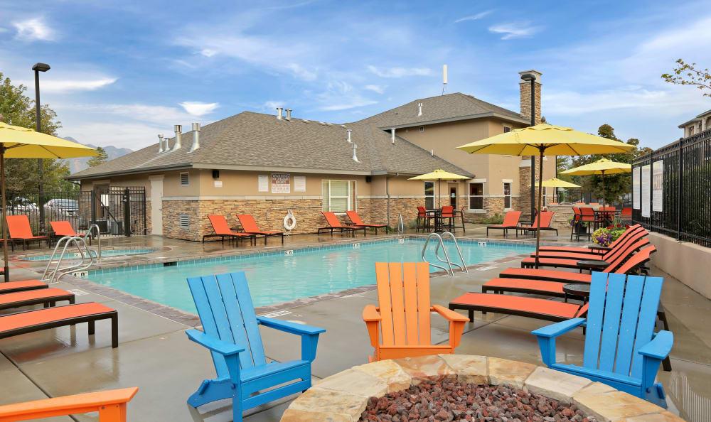 Relaxing swimming pool at Meadowbrook Station Apartments in Salt Lake City, Utah