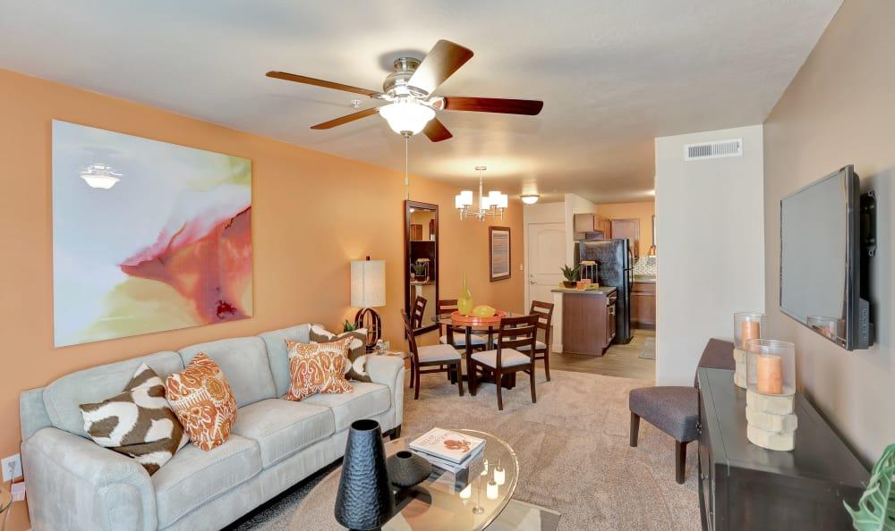 Living room at Meadowbrook Station Apartments in Salt Lake City, Utah