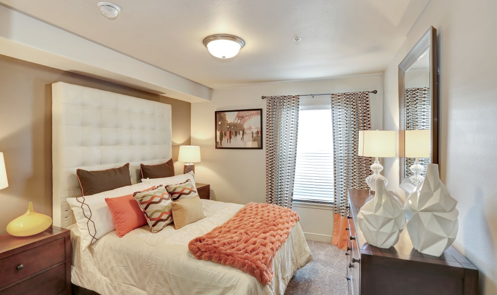 Renovated bedroom at Meadowbrook Station Apartments in Salt Lake City, Utah