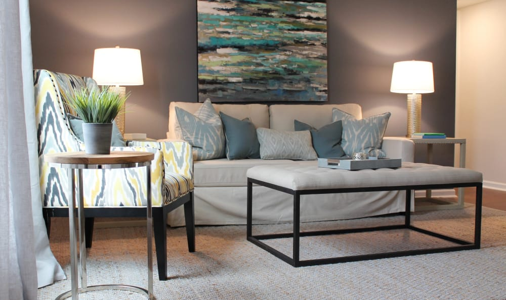 Modern decor in living room at Palmilla Apartments