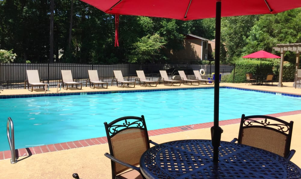 Plenty of sun - and shaded seating - near the pool at Abbots Glen in Norcross