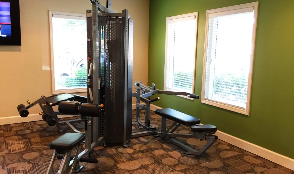 Fully-equipped fitness center at Abbots Glen in Norcross