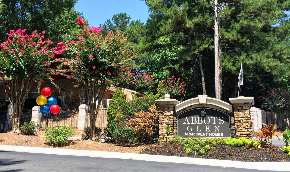 Our sign welcomes you to Abbots Glen in Norcross