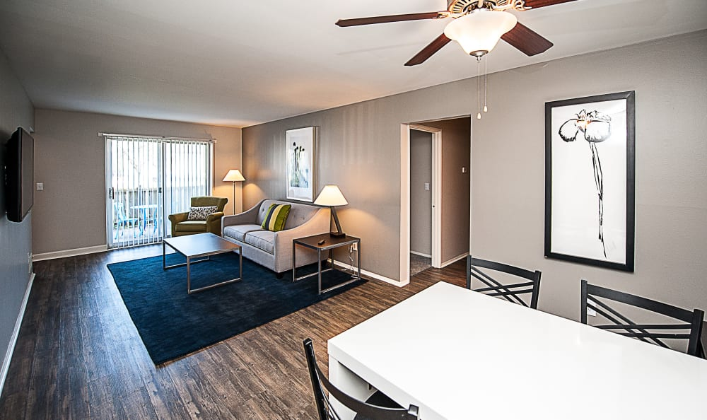 Dining and living rooms at Spice Tree Apartments in Ann Arbor, MI
