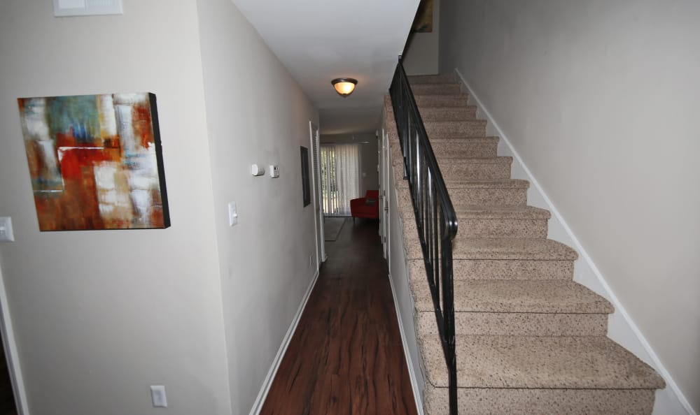 Stairs leading to apartment home second floor at The Broadway at East Atlanta