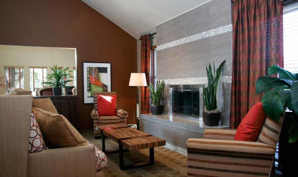 Clubhouse Seating Near The Fireplace at Montair Apartment Homes in Thornton, Colorado