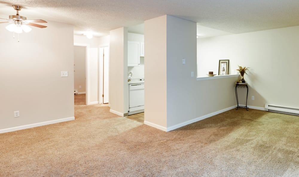 Open and bright living space in model apartment home at Arbor Chase Apartment Homes