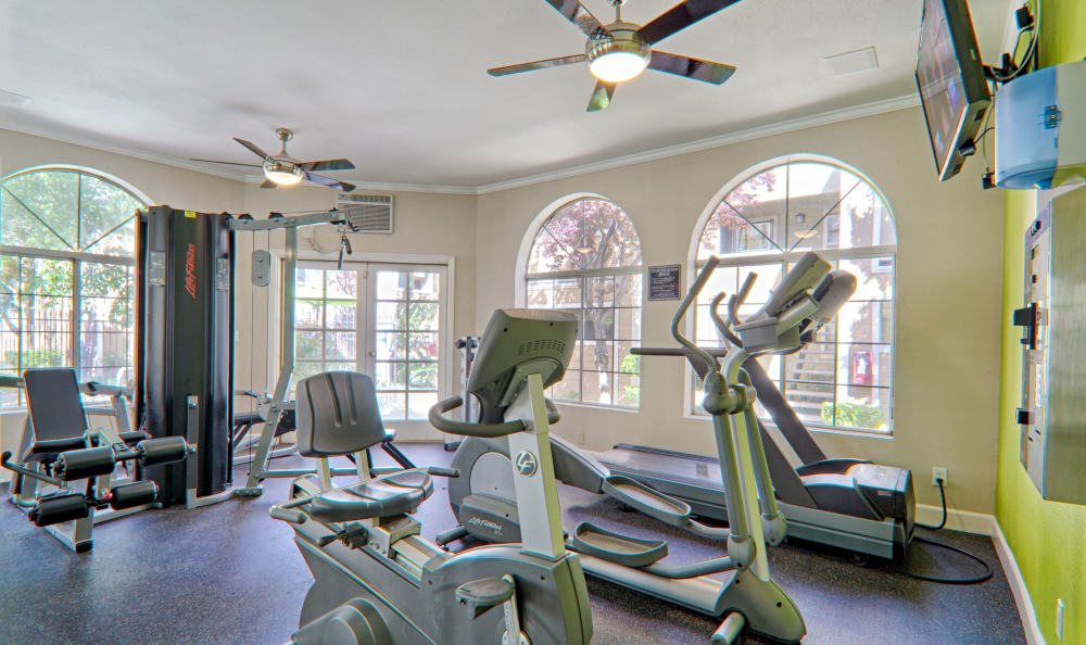On-site, fully equipped fitness center at Cordova Park Apartment Homes in Lancaster, CA