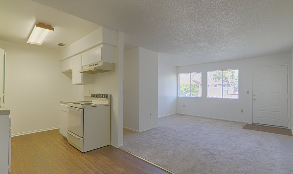 Empty unit at Country Hills Apartment Homes showcasing the spacious floor plan