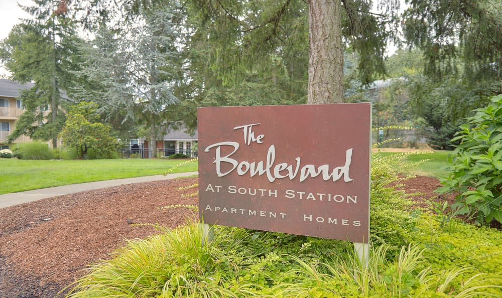 The Boulevard at South Station Apartment Homes sign welcoming residents and guests in Tukwila