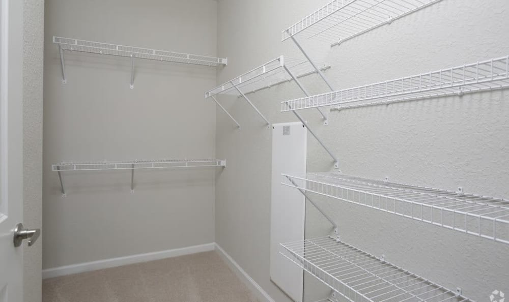 Walk in closet at apartments in Ocoee