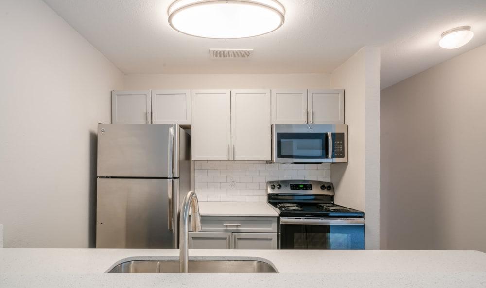Luxury kitchen at Falls on Bull Creek Apartments in Austin, Texas