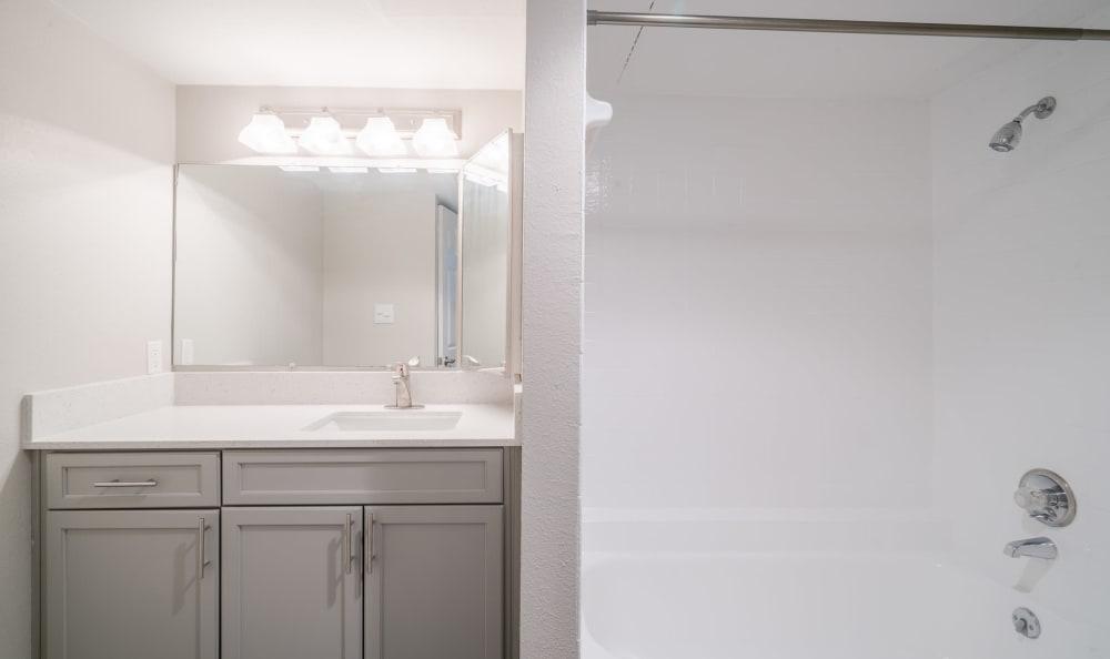 Beautiful bathroom at apartments in Austin, Texas