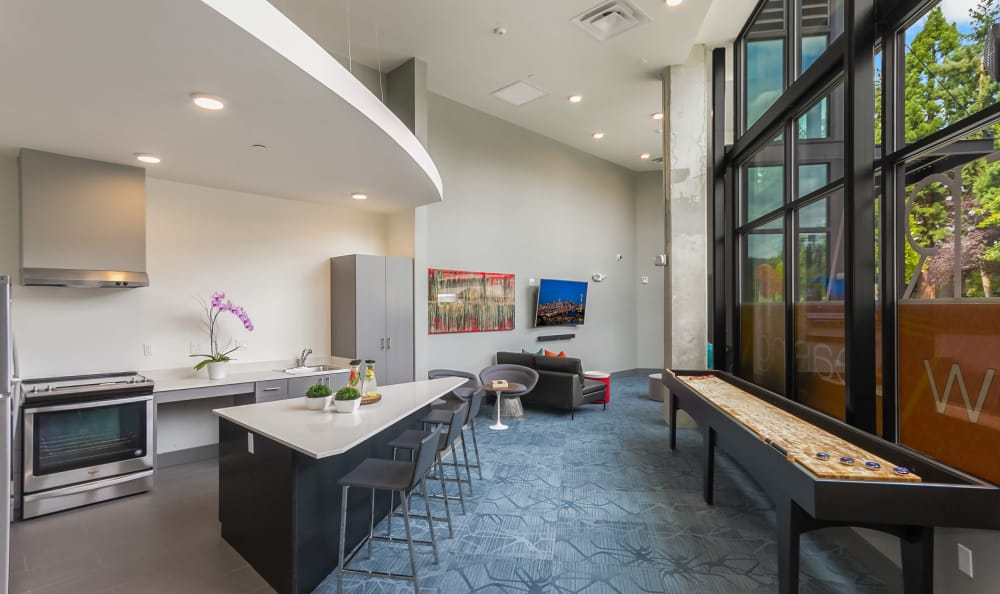 Shuffle board and amenities at Tria Apartments in Newcastle