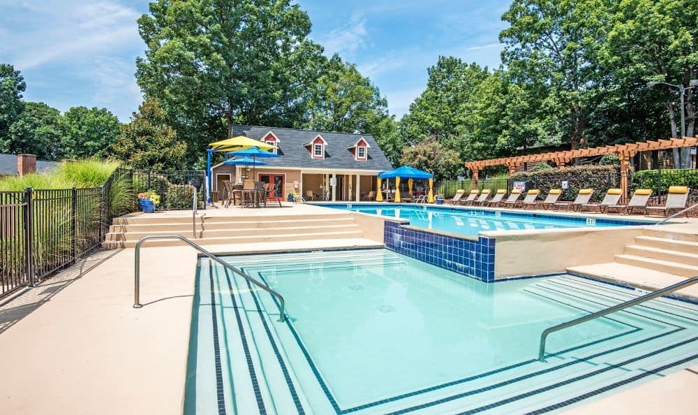 A swimming pool that is great for entertaining at apartments in Raleigh, NC