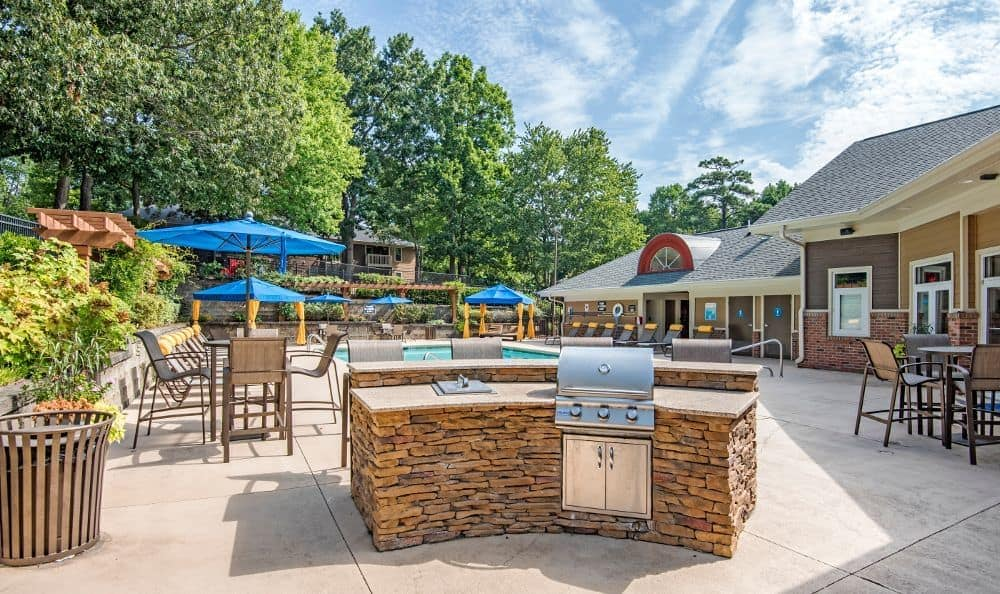 Beautiful bbq area at Six Forks Station in Raleigh, NC