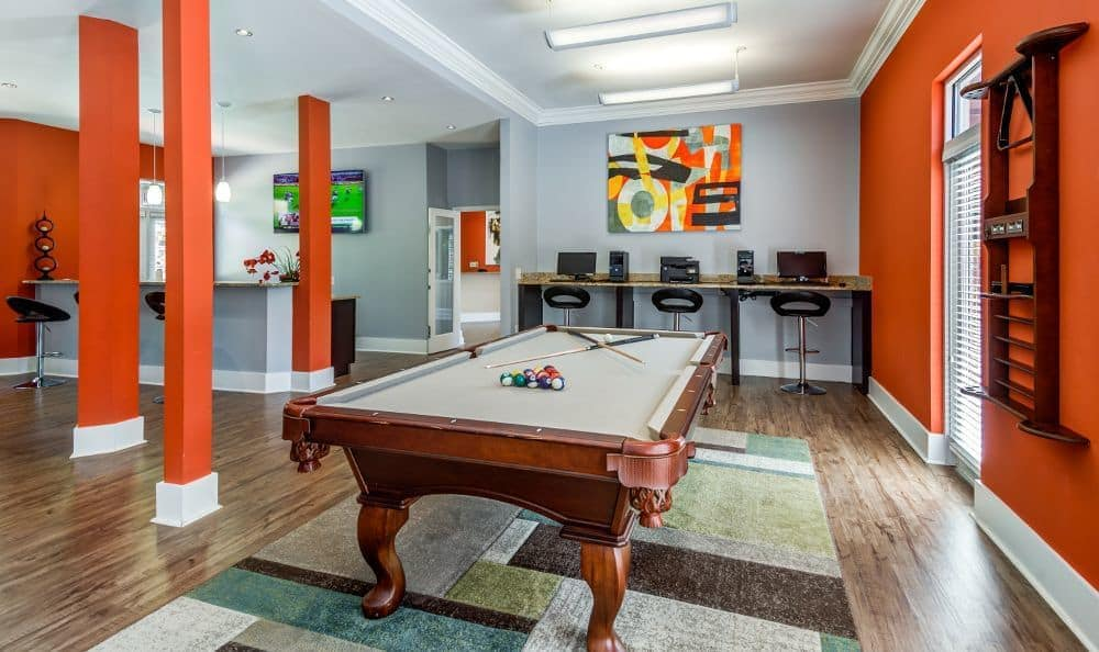 A clubhouse that is great for entertaining at apartments in Raleigh, NC