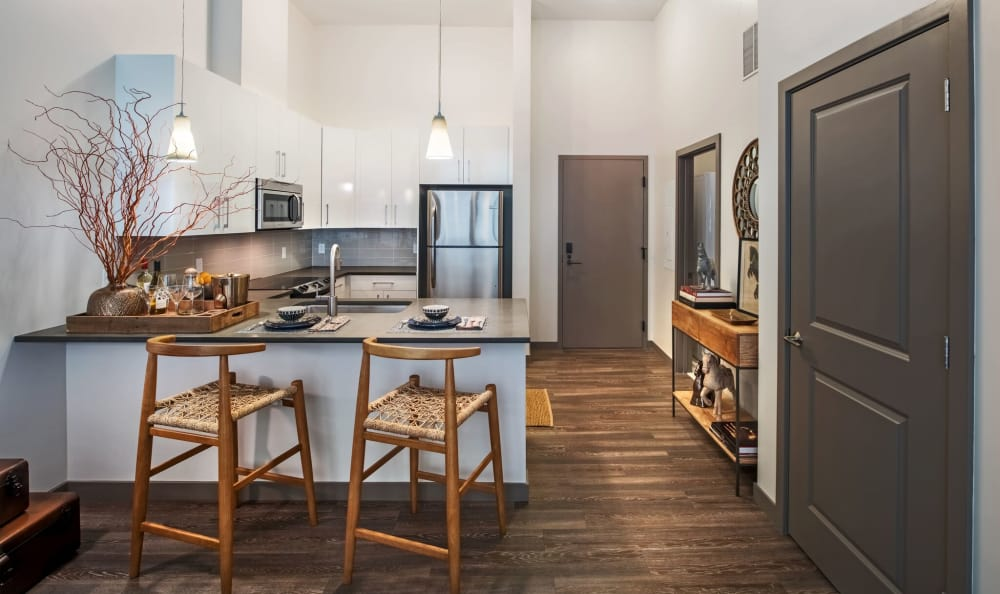 Open kitchen at Eastside Bond Apartments in Pittsburgh