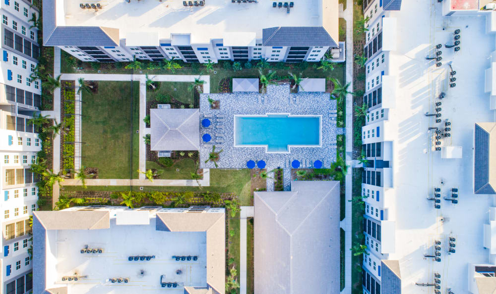 Aerial view of pool area at Luma at West Palm Beach