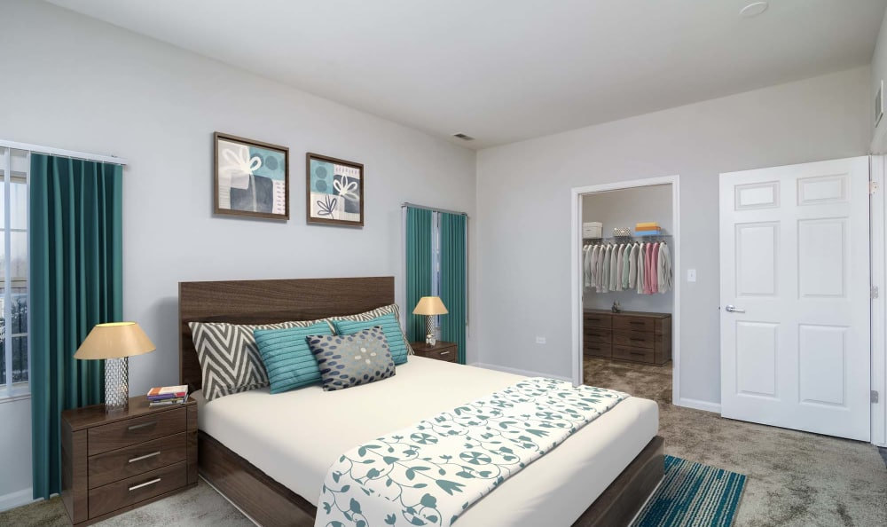 Spacious modern master bedroom at The Preserve at Osprey Lake in Gurnee, Illinois