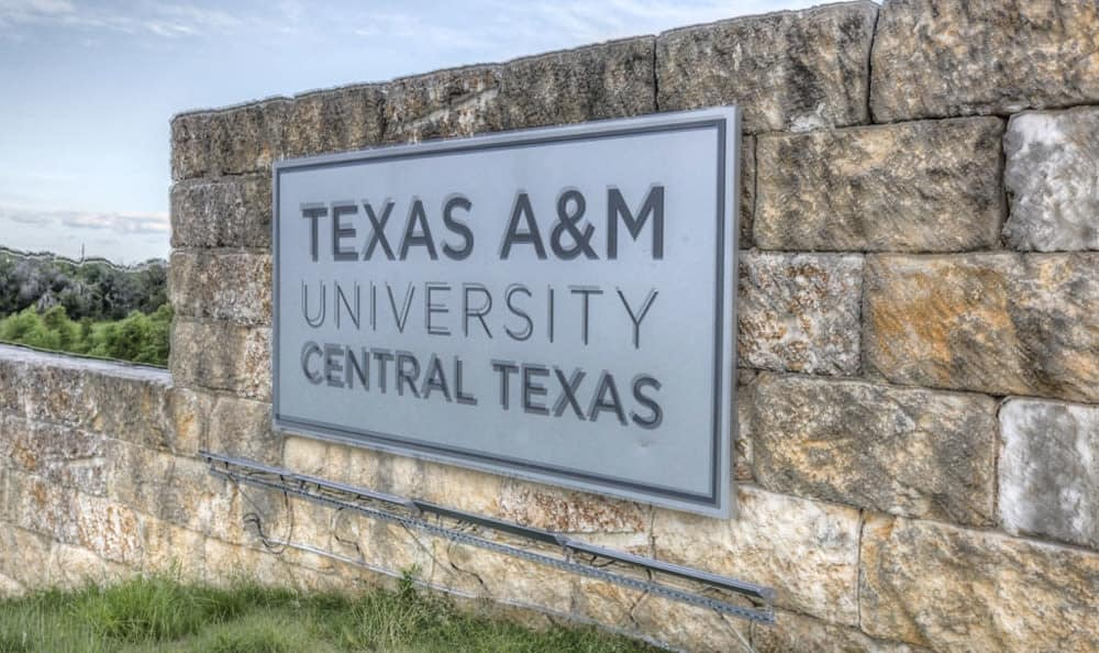 Texas A&M University Central Texas sign close to Stone Creek Apartments