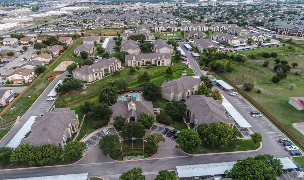 Aerial view of neighborhood near Stone Creek Apartments