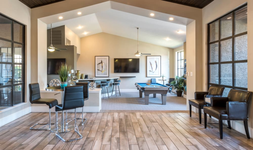 Gorgeous clubhouse interior at Elliot's Crossing Apartment Homes in Tempe
