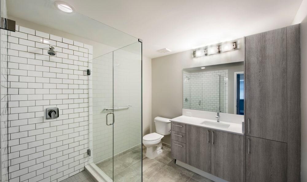 Bathroom with subway tile shower at Casa Vera