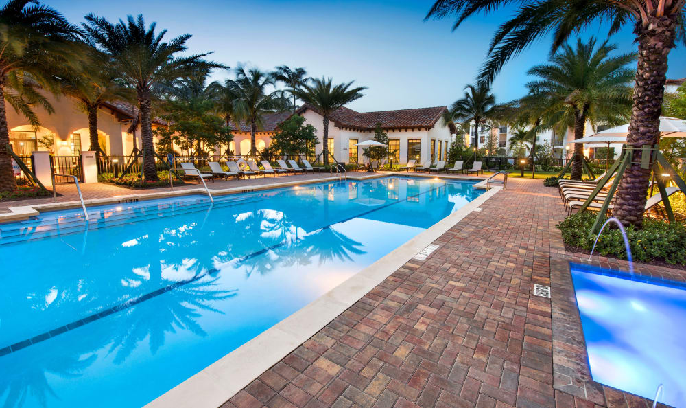 Our resort-style swimming pool and hot tub in Miami, Florida