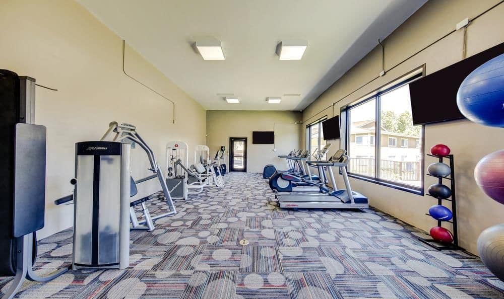 Fitness center at apartments in Redlands, California