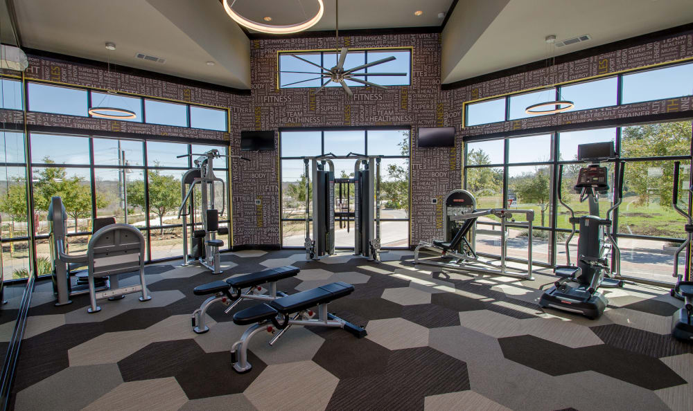 Fully equipped fitness center at Domain at Midtown Park