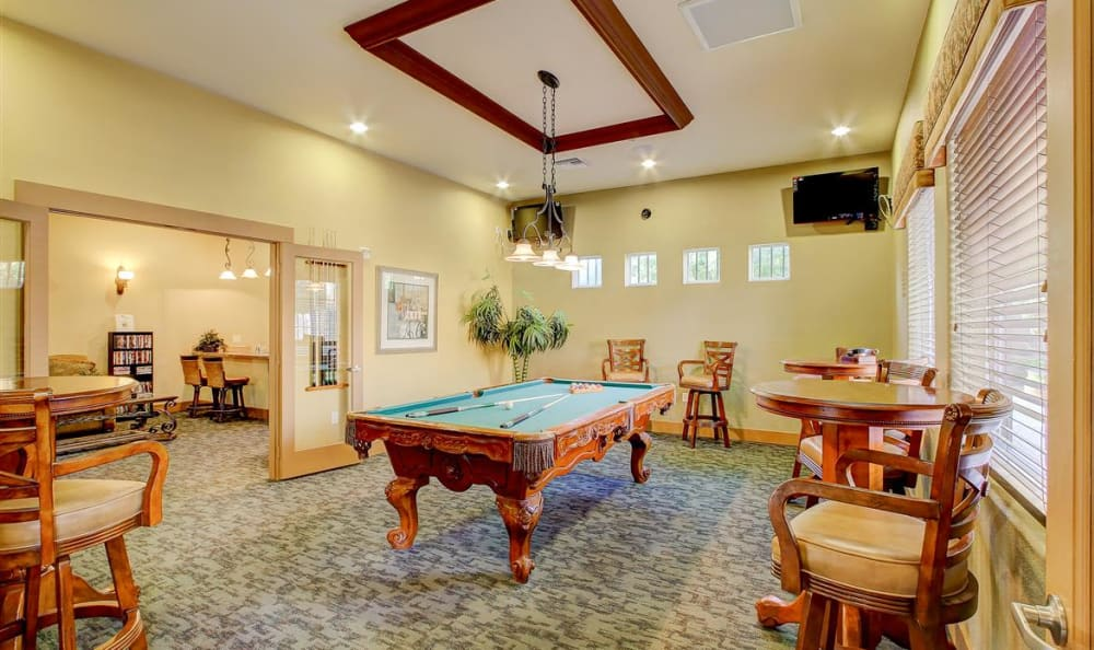 Billiards table in the clubhouse at The Highlands at Spectrum in Gilbert, AZ