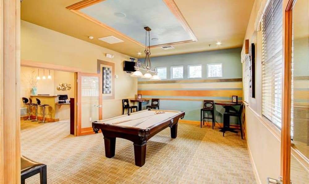 Billiards table in the clubhouse at Woodland Apartments in Olympia, WA