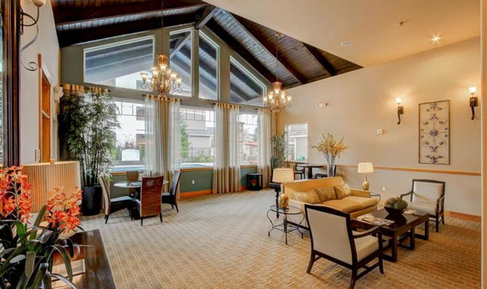 Interior view of the lavish resident clubhouse at Woodland Apartments in Olympia, WA