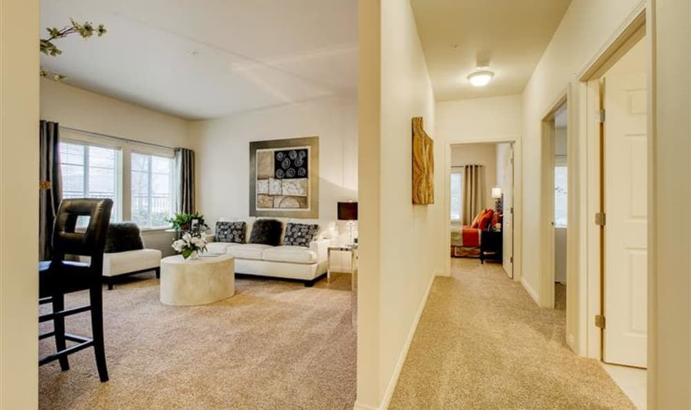 Interior view of spacious model home at Woodland Apartments in Olympia, WA