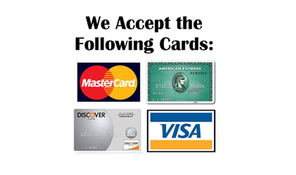 Accepted cards at Ace Affordable Storage in Sherman, Texas