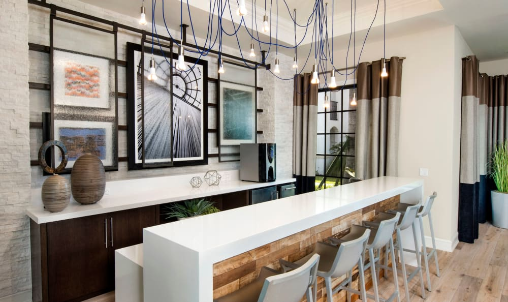 Modern bar with seating at Casa Vera in Miami, FL