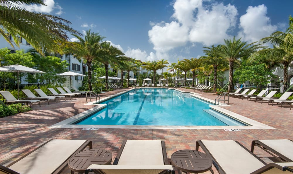 Seating by the pool at Casa Vera in Miami, FL