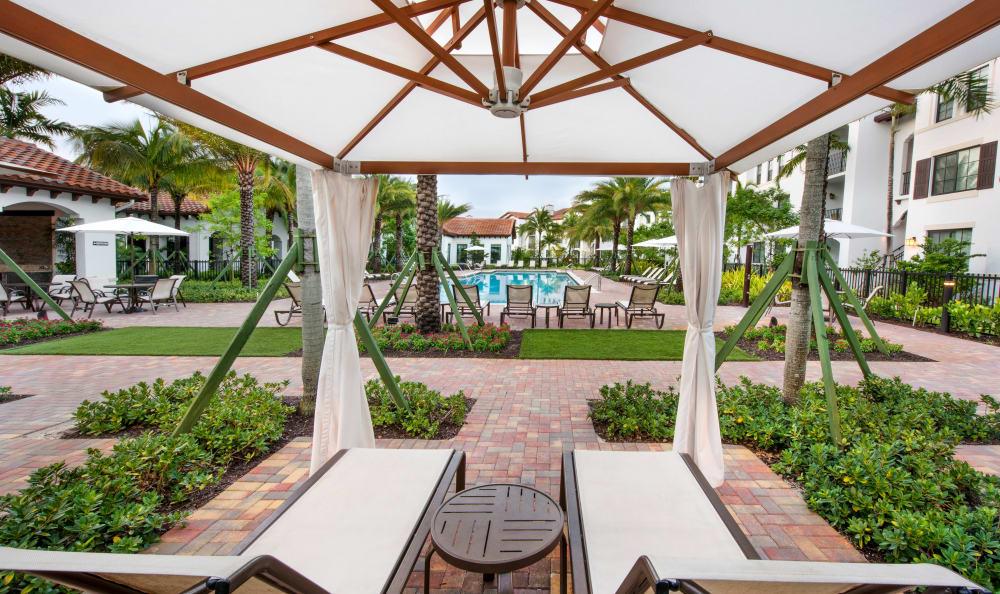 Seating in the shade at Casa Vera in Miami, FL