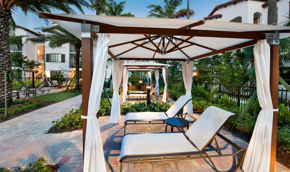 Poolside seating at Casa Vera in Miami, FL