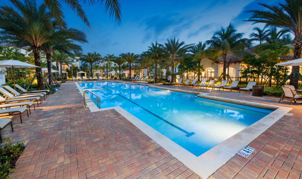 Pool at night at Casa Vera in Miami, FL