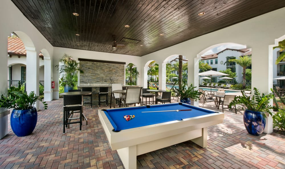Outdoor pool table at Casa Vera in Miami, FL