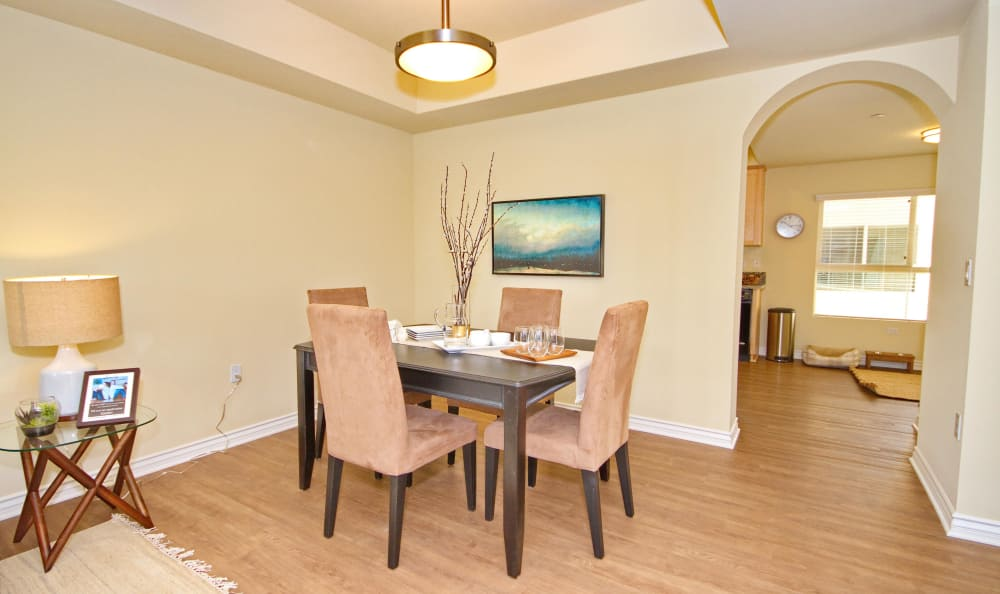 Dining area in model home at IMT Townhomes at Magnolia Woods in Sherman Oaks, CA