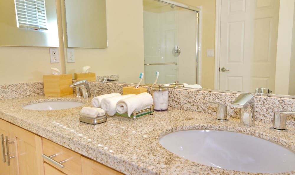 Spacious and bright master bathroom of model home at IMT Townhomes at Magnolia Woods in Sherman Oaks, CA