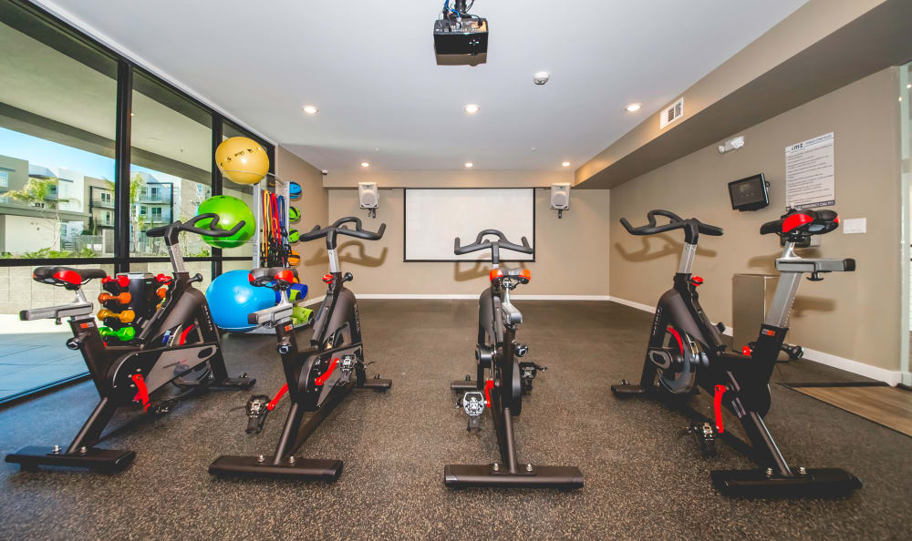 Exercise bikes and more at several fitness zones at IMT Sherman Circle in Van Nuys, CA