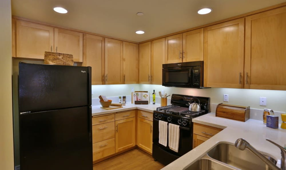 Black appliances in a well-equipped gourmet kitchen in a model home at IMT Park Encino in Encino, California